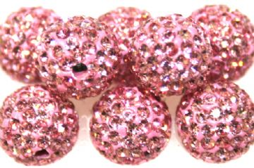 10mm Baby Pink 115 Stone  Pave Crystal Beads- Half Drilled PCBHD10-115-011